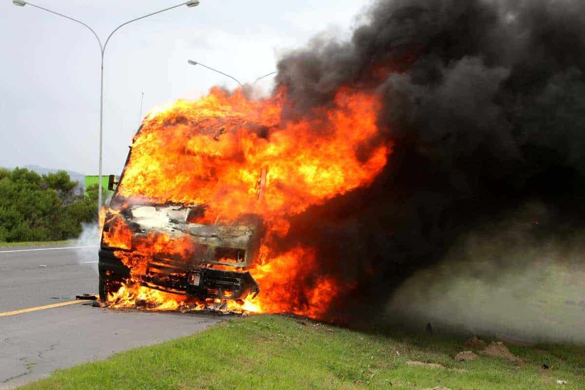 Burn injury from a car accident
