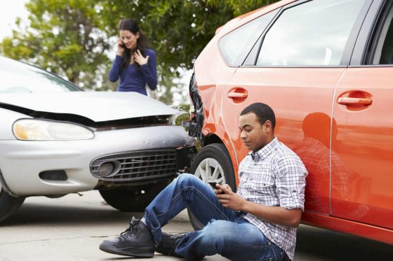Chicago car wreck victim on the phone after accident