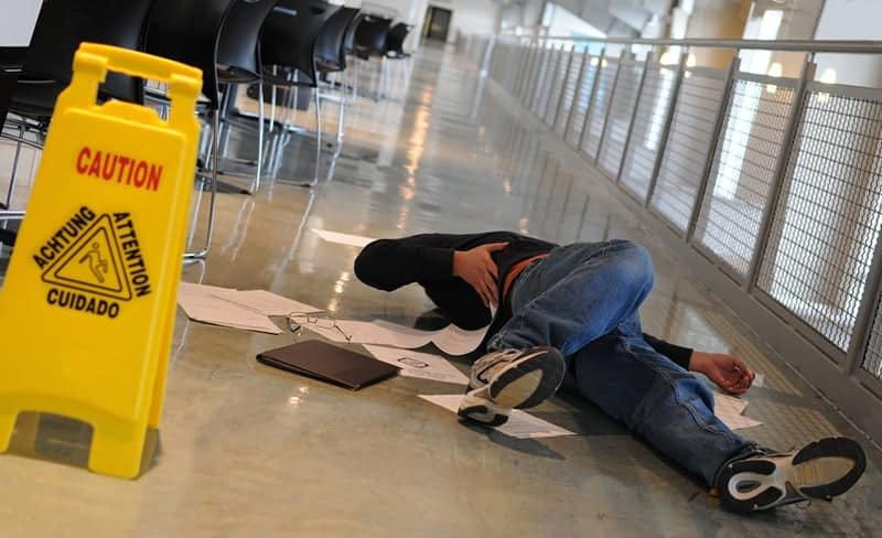 person slips in hallway